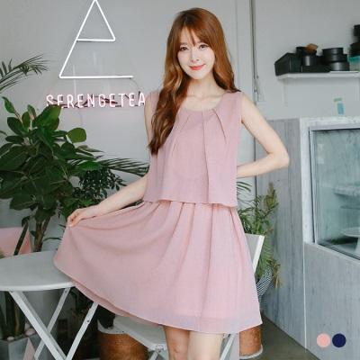 【春夏斷碼♥2件55折】素色壓紋打褶層次造型無袖寬鬆洋裝.2色