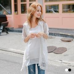 鏤空織花流蘇短袖針織罩衫/外套‧2色