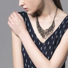 層次垂墜金屬珠飾項鍊.2色