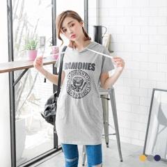 【春夏斷碼♥2件55折】美式浮水印花連帽休閒長版T恤/洋裝.3色