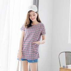 【春夏斷碼♥2件55折】棉感格紋蕾絲袖口袋圓領上衣.2色