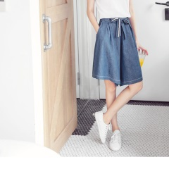 光澤感打摺造型腰圍鬆緊綁帶牛仔褲裙
