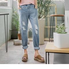 0614新品 刷破造型腰鬆緊牛仔男友直筒褲