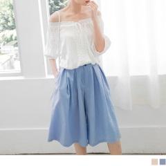 0523新品 素色打摺雙口袋設計七分寬褲.2色