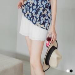 【夏日特賣會♥2件5折】彈性壓紋腰鬆緊綁帶花邊短褲.2色