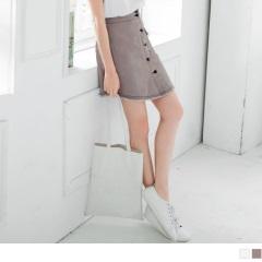 【夏日特賣會♥2件5折】高腰排釦單邊口袋弧狀抽鬚下擺斜紋A字裙.2色