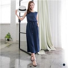 【春夏斷碼♥2件55折】腰圍抽繩綁帶單邊口袋細皺背心長洋裝.2色