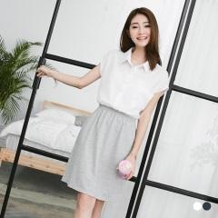 假兩件式素色短袖襯衫洋裝.2色