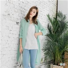 【春夏斷碼♥2件55折】直條紋配色棉感側開衩長版襯衫/外套.2色