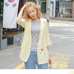 素色翻領開襟單釦七分袖罩衫/外套.2色