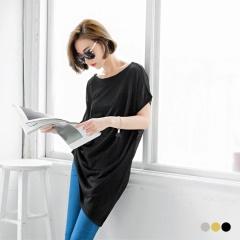 【夏日特賣會♥2件5折】素色寬圓領細針織斜襬造型短袖長上衣.3色