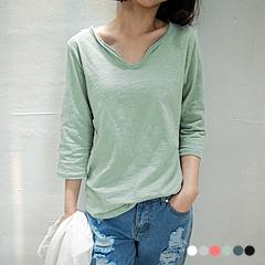 0619新品 素色竹節棉V領七分袖弧狀下擺上衣.6色