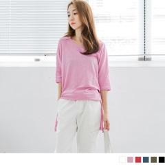 素色竹節棉下擺開衩落肩七分袖長版上衣.6色