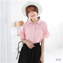 【春夏斷碼♥2件55折】直條紋棉感拼傘襬五分袖襯衫.2色