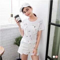【春夏斷碼♥2件55折】趣味手繪印花竹節棉T恤.2色