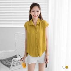 素色剪裁造型無袖開襟襯衫.2色