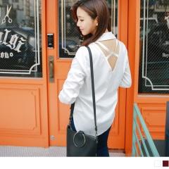 質感素面x後交叉鏤空造型雪紡襯衫.2色