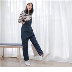 0615新品 型女必備~多功能口袋設計寬鬆牛仔吊帶褲