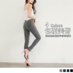 0619新品 腰圍鬆緊彈性修身牛仔緊身長褲.4色