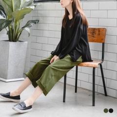素色腰鬆緊綁帶打褶卡其寬版長褲.2色