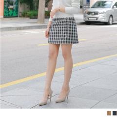 拼色格紋單邊排釦合身A字裙.2色