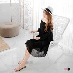 【春夏斷碼♥2件55折】素色百褶一字領七分縮口袖洋裝.2色