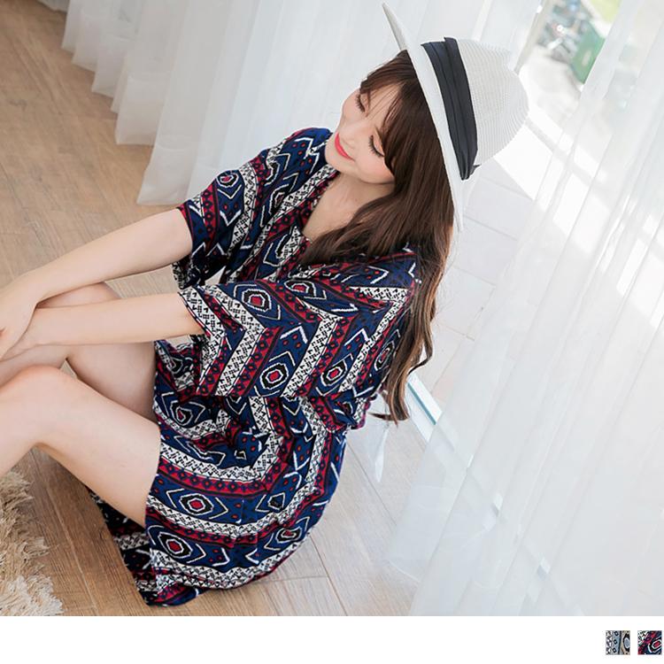 民族風圖騰印花七分連袖縮腰洋裝.2色