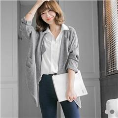 0418新品 反折連袖開襟翻領風衣外套/罩衫.2色