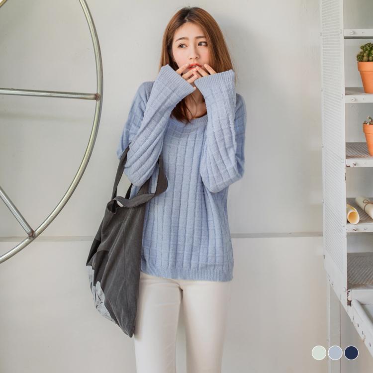 純色圓領落肩網格針織上衣.3色
