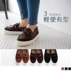 台灣製造~內裡保暖絨毛仿麂皮莫卡辛休閒鞋.3色