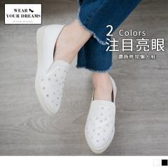 台灣製造~仿皮革鑽飾休閒懶人鞋.2色