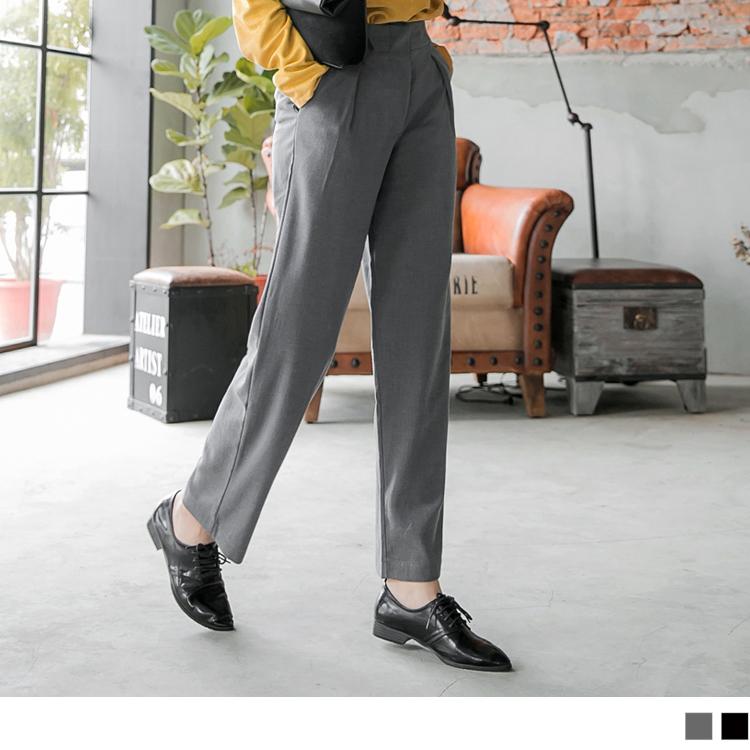 素色簡約質感打褶造型寬版長褲.2色