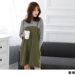 0523新品 假兩件橫條紋圓領長袖細肩吊帶洋裝.2色
