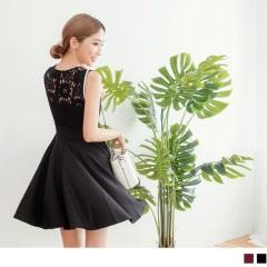 質感後蕾絲鏤空拼接造型無袖V口洋裝.2色