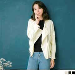 磨毛仿麂皮翻領造型騎士外套.3色