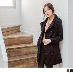 混羊毛排釦設計長版大衣外套.2色