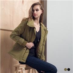 素色鋪棉質感可拆式連帽/翻領軍裝外套.2色