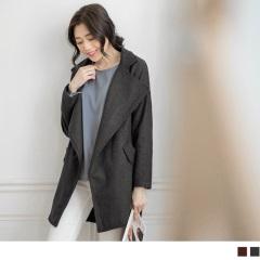 大翻領落肩造型長版大衣外套.2色