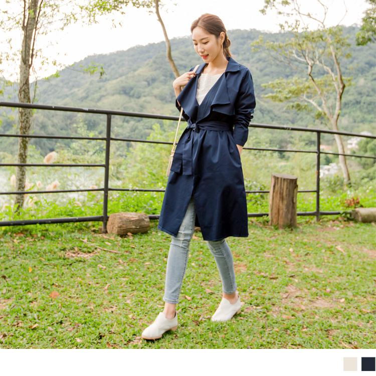 高含棉附綁帶翻領開襟素色長版風衣外套