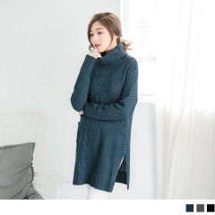 高領麻花長版針織毛衣
