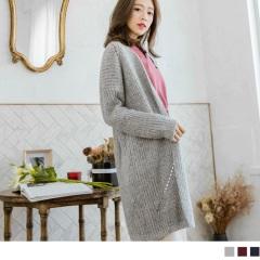 混色鏤空織紋長版針織外套.3色