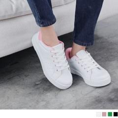 0607新品 台灣製造~拼色休閒風透氣仿皮白鞋/球鞋.4色