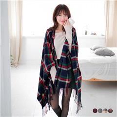 0209新品 格紋/素色流蘇收尾圍巾.4色