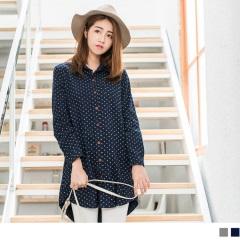 1020新品 滿版圓點印花棉感長版襯衫/洋裝.2色