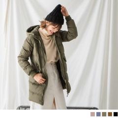 側袖拉鍊造型釦飾口袋連帽長版羽絨外套‧3色