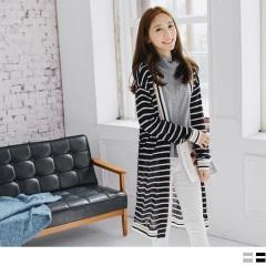 配色條紋羅紋滾邊開襟長版針織外套.2色
