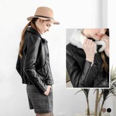 毛海可拆立領質感合身仿皮革外套.2色
