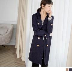 滑順質感排釦造型翻領/立領風衣外套.2色