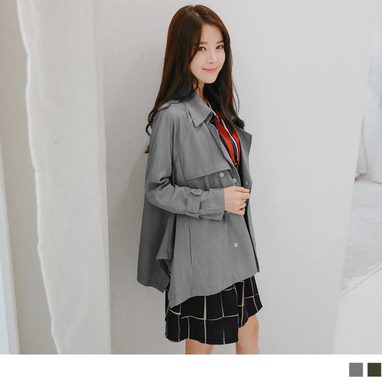 雙排釦寬鬆版翻領斜紋風衣外套.2色