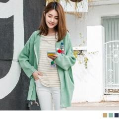 0218新品 素面針織拉鍊設計寬鬆外套.3色